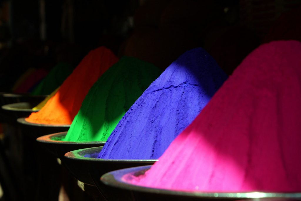 mounds of colorful powder coating