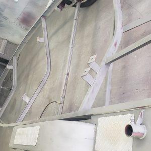 Truck Suspension media blasted in preperation for powder coating