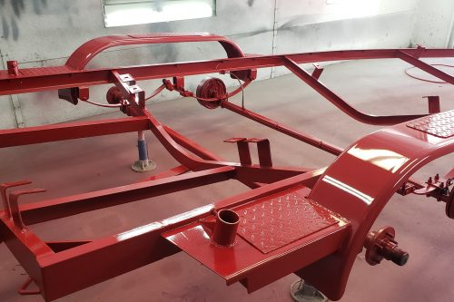 Truck suspension powder coated red