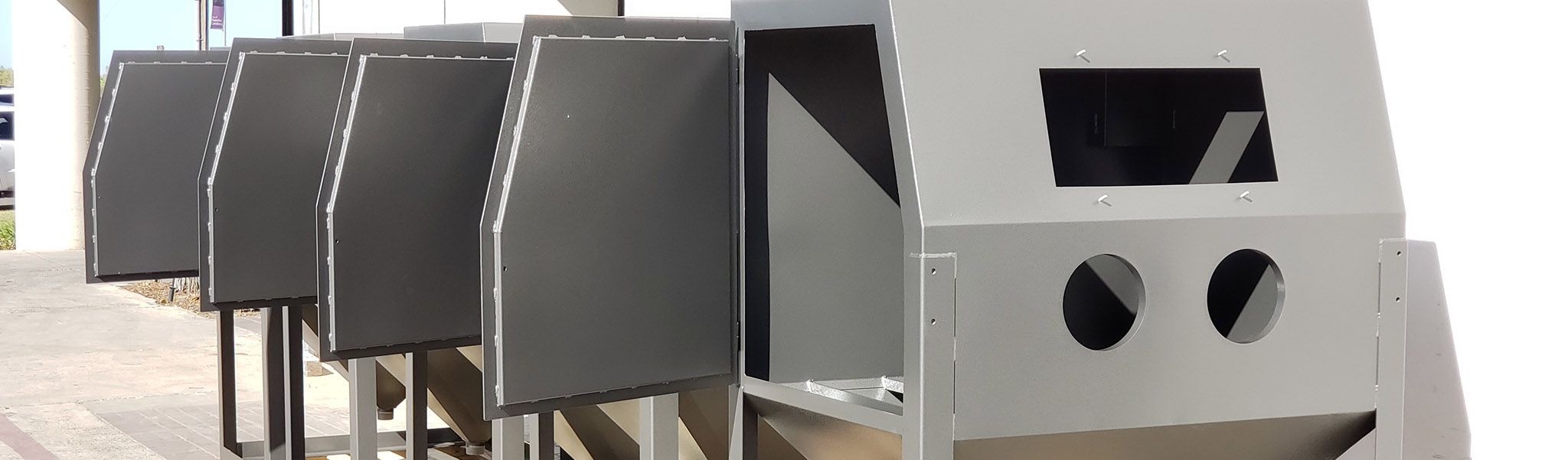 Industrial powder coated blast cabinets